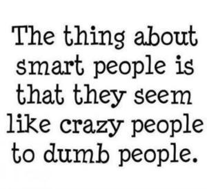 the thing about smart people is that they seem crazy to dumb people