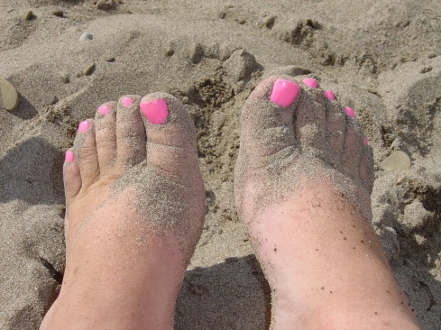 No beach vacation this time, but check out that pedicure!
